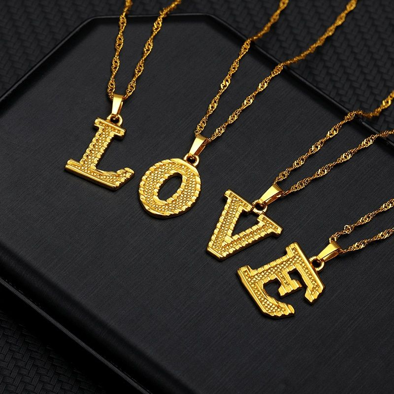 Photo of Tiny Gold Initial Letter Necklace For Women Stainless Steel A-Z Alphabet Pendant Necklace Jewelry Christmas Gifts Bijoux Femme
