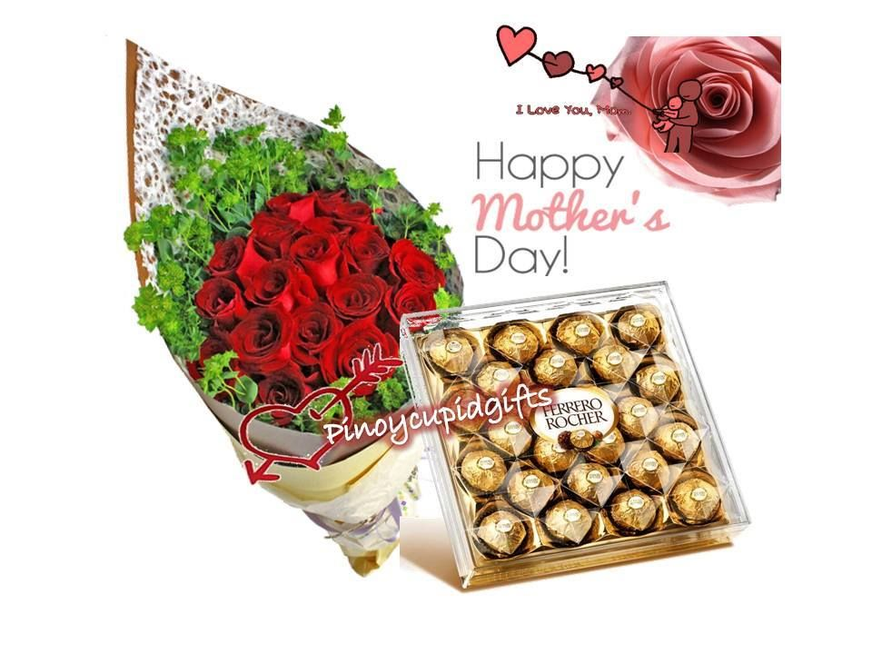 Mother\'s Day 21 15 pieces Red Roses in a bouquet arrangement. Box of ...