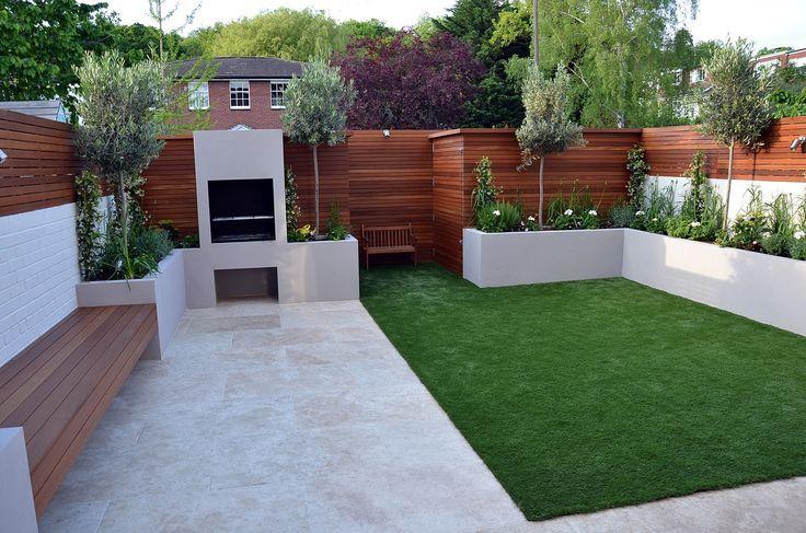 Clapham London Garten Design Sandstein Pflaster Hartholz Sichtschutz Schei #modernlandscapedesign