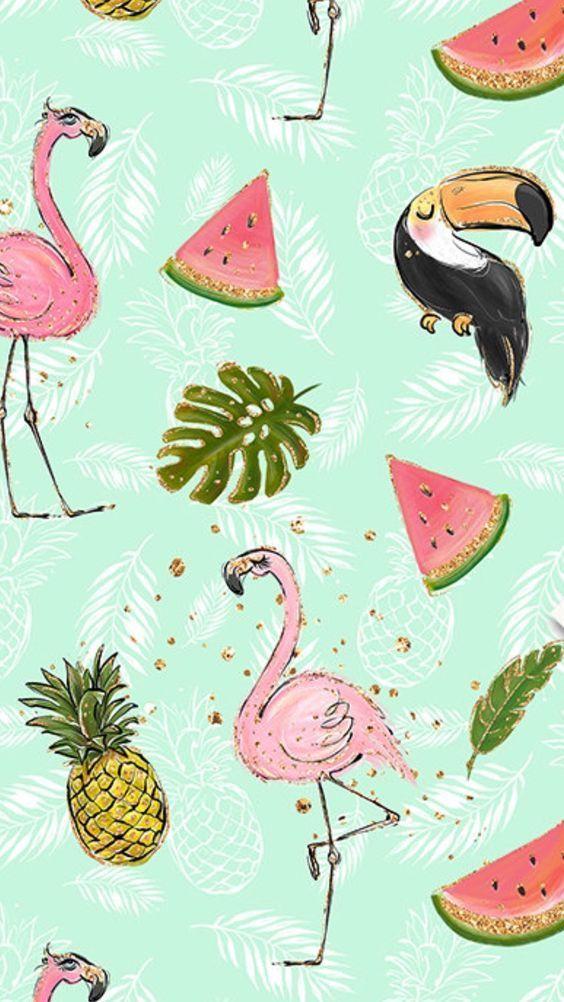 Wallpaper Wpp Papeldeparede Flamingo Abacaxi Tropical Tropica Verao Summer Sun Tropical Print Wallpaper Tropical Wallpaper Flamingo Wallpaper