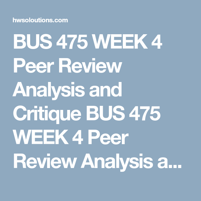 peer review analysis bus 475
