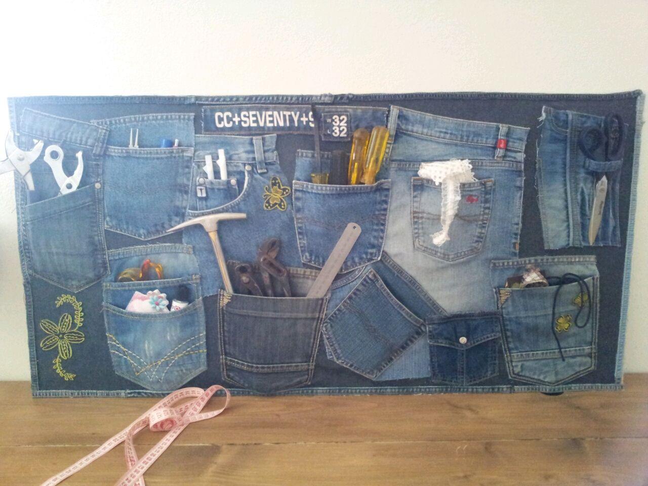 Opbergbord van recycled denim deco pinterest meubels tassen en idee n - Van deco ideeen ...