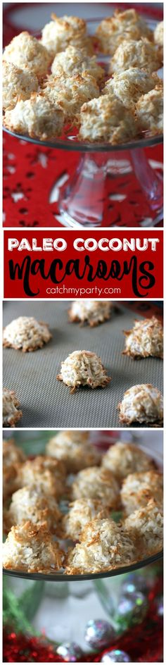 These paleo coconut macaroons are absolutely delicious! No grains -- just egg whites, unsweetened coconut flakes, walnut meal, vanilla, and the tiniest bit of sweetener. Perfect way to indulge during the holidays! Also, I used Bounty for cleanup as always! | See more Christmas recipes at http://CatchMyParty.com #ad #QuickerPickerUpper