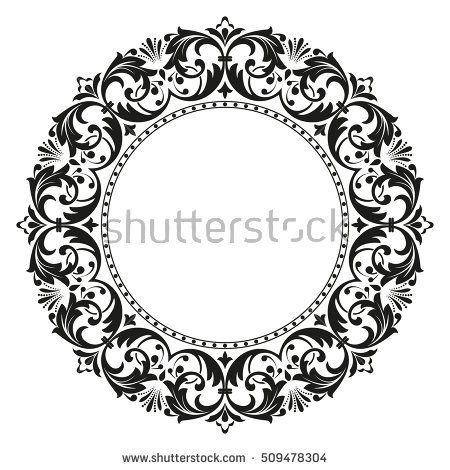 Decorative line art frames for design template. Elegant element for design in Eastern style, place for text. Black outline floral border. Lace illustration for invitations and greeting cards #framesandborders
