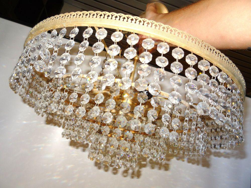 Plafoniere Kristall : Deckenleuchte kronleuchter deckenlampe kristall retro vintage