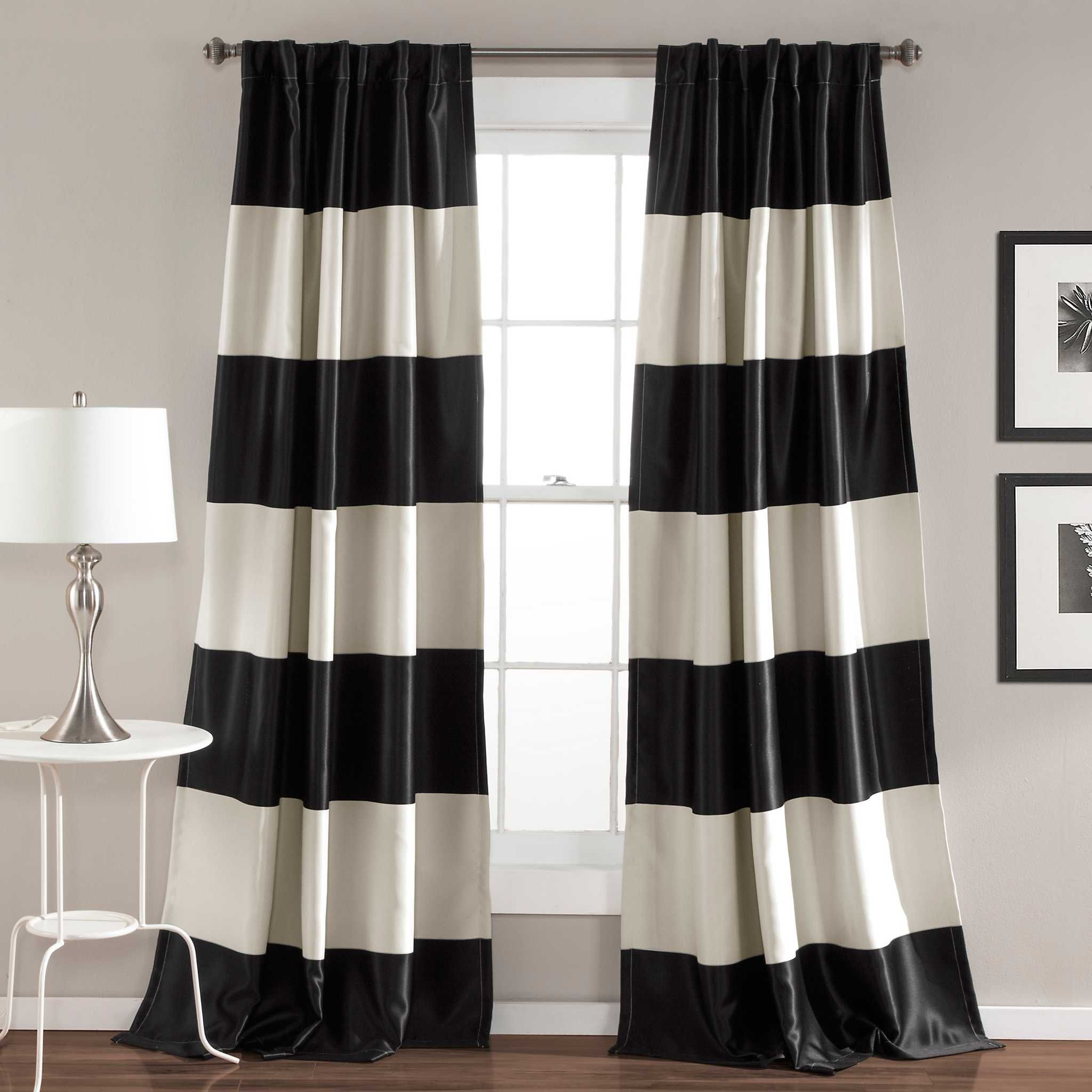 Black Montego Stripe Curtain Panel Set, 84 In - Kirklands