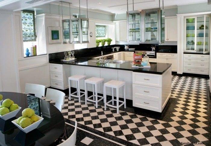 U-Form Küche in Schwarz und Weiß mit grünen Akzenten | ┈ʜ◯╱ˇ╲ᄐ ...