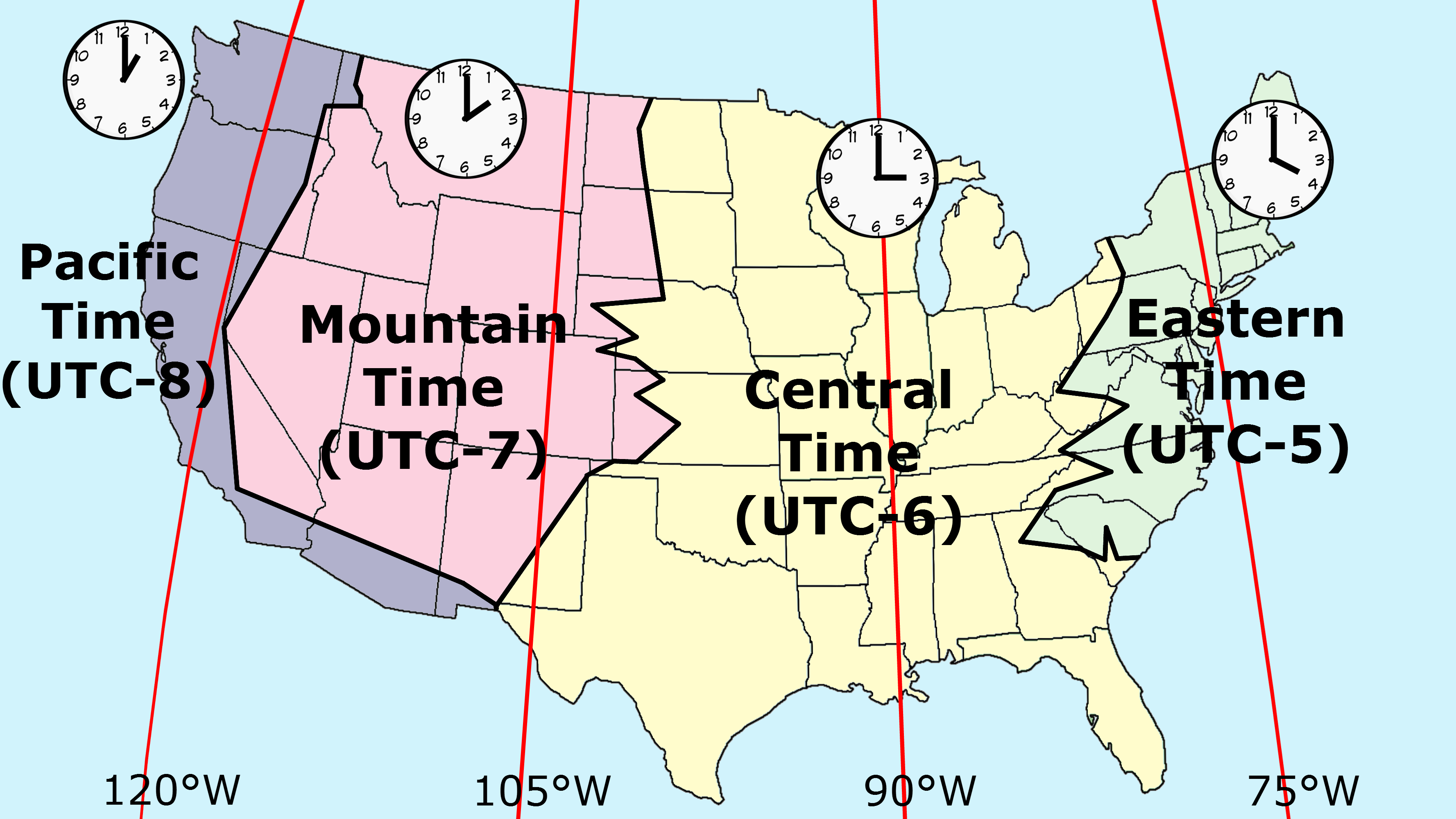 Time Zones In The United States In