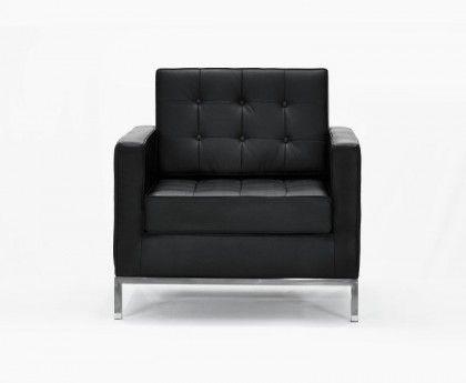 Florence Armchair - Black Premium Leather | Retro Europe