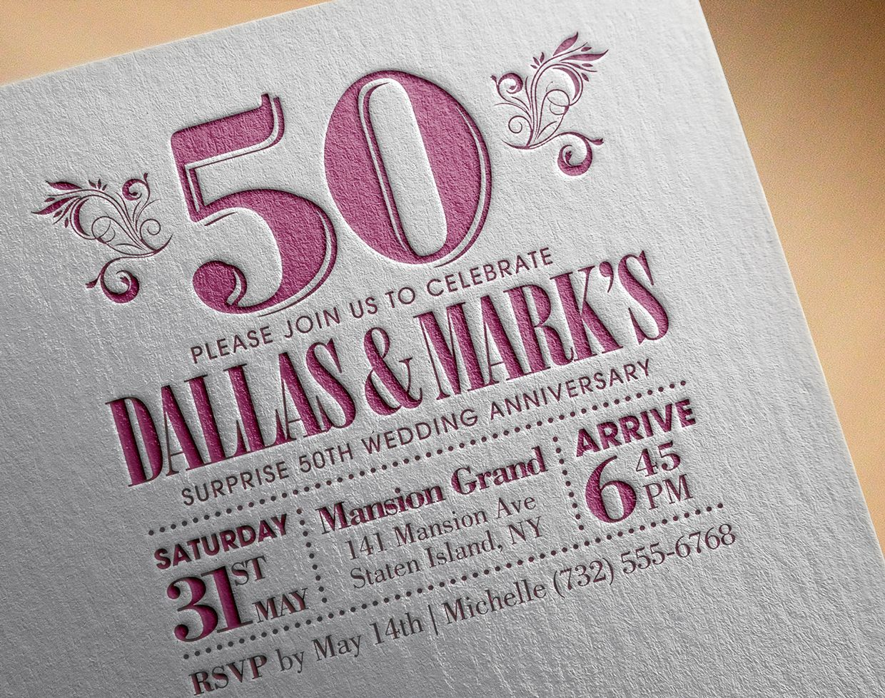 sample of wedding invitation letter%0A Dallas  u     Mark u    s   th Anniversary invitation  Classic typography style with  a serif font and printed    th Anniversary InvitationsLetter PressSerif