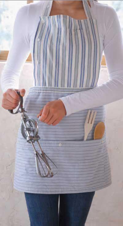 Essayez ceci: Tablier boutonné fabriqué à partir de chemises recyclées   – Grembiuli