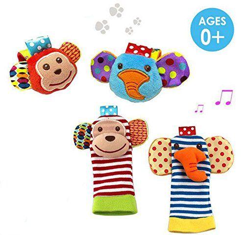 Daisy 4 Packs Adorable Animal Infant Baby Wrist Rattle Foot Finder Socks Monkey And Elephant Developmental Toys Baby Toy Set Baby Soft Toys Baby Toys Rattles