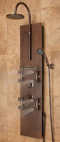 Mojave Southwest-inspired shower spa with hammered copper panel ...