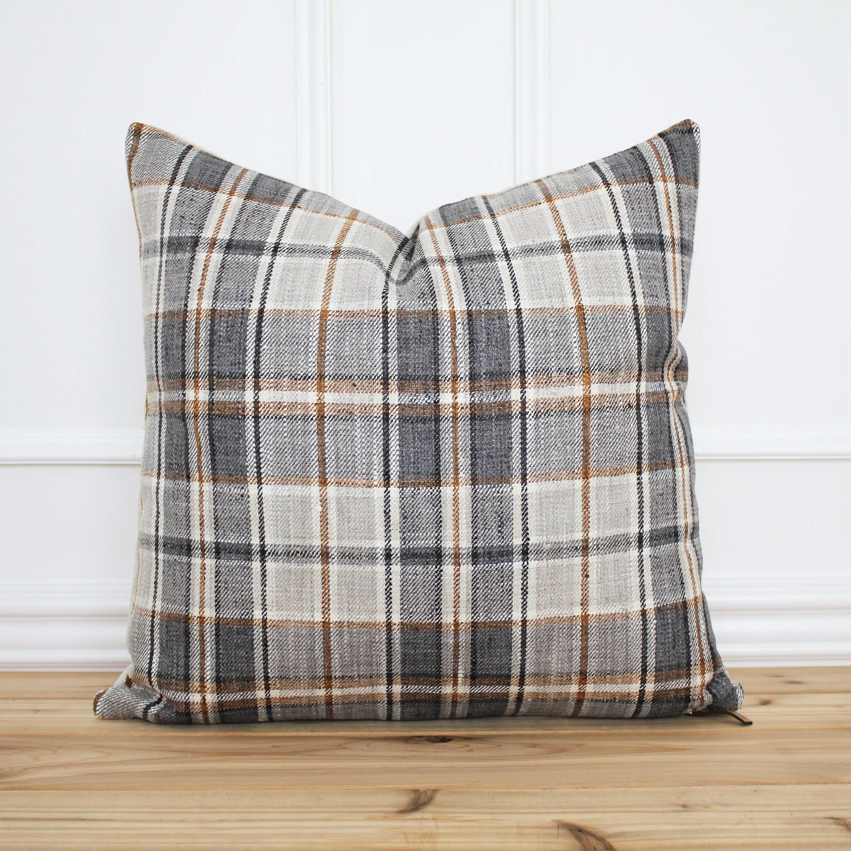 gray plaid pillow cover plaid throw