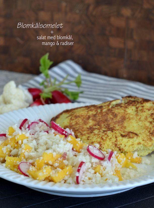 Blomkålsomelet + salat med blomkål, mango & radiser
