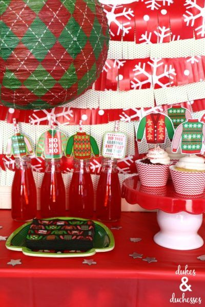 snack bar at ugly christmas sweater party - Ugly Christmas Sweater Party Decorations