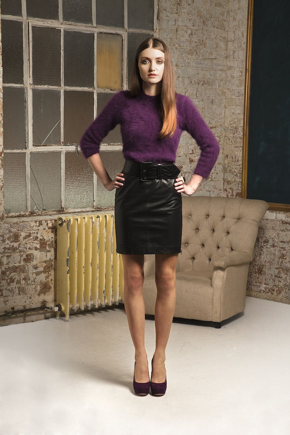 Donna Ida Carven Plum Jumper & Muubaa Leather Skirt #denim ...