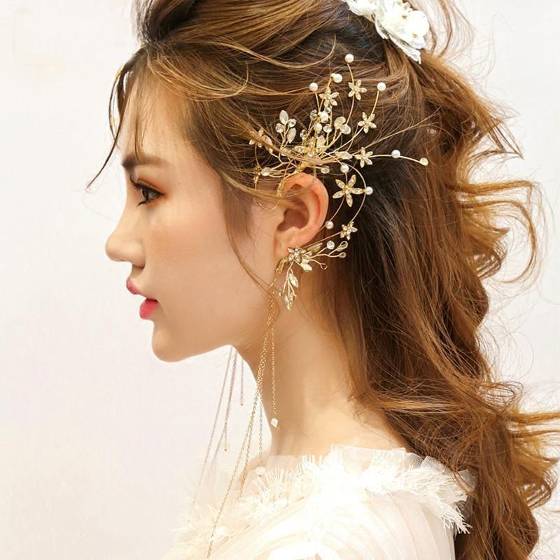 Handmade Prom Bridal Pearl Crystal Floral Earcuffs