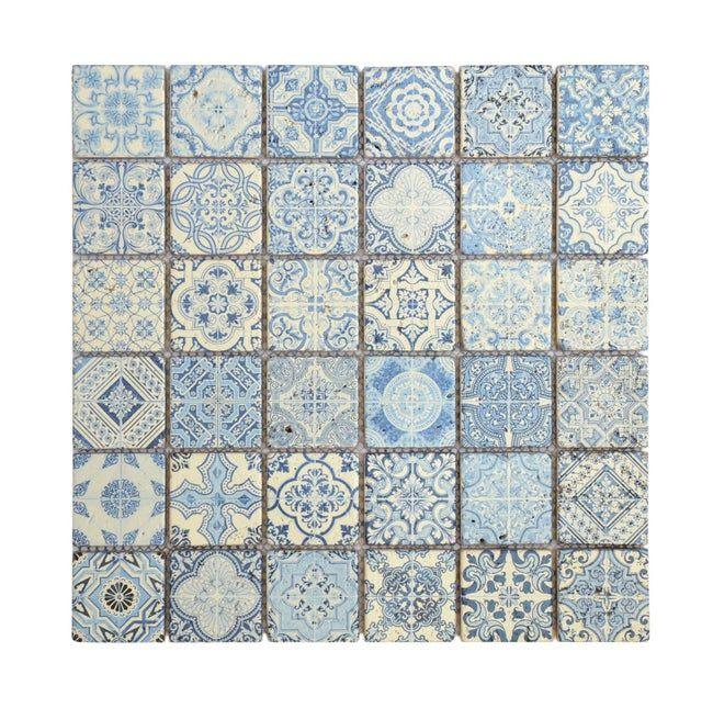 Mosaique Mur Renaissance Decore Bleu 4 8 X 4 8 Cm En 2020 Mosaique Mosaique Cuisine Et Renaissance
