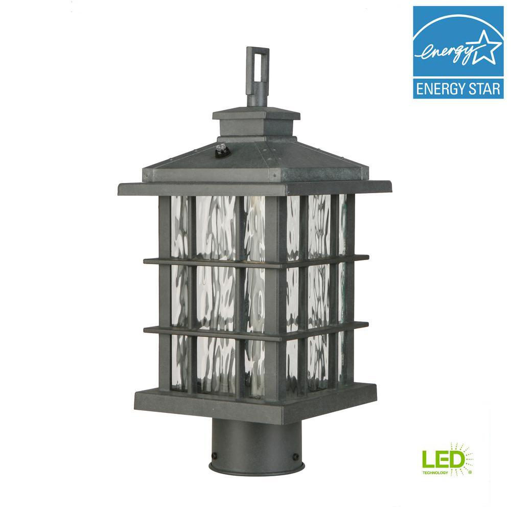 Home Decorators Collection Summit Ridge Collection Zinc Outdoor Integrated Led Post Light Cqh1801l Led Post Lights Outdoor Post Lights Hanging Lanterns