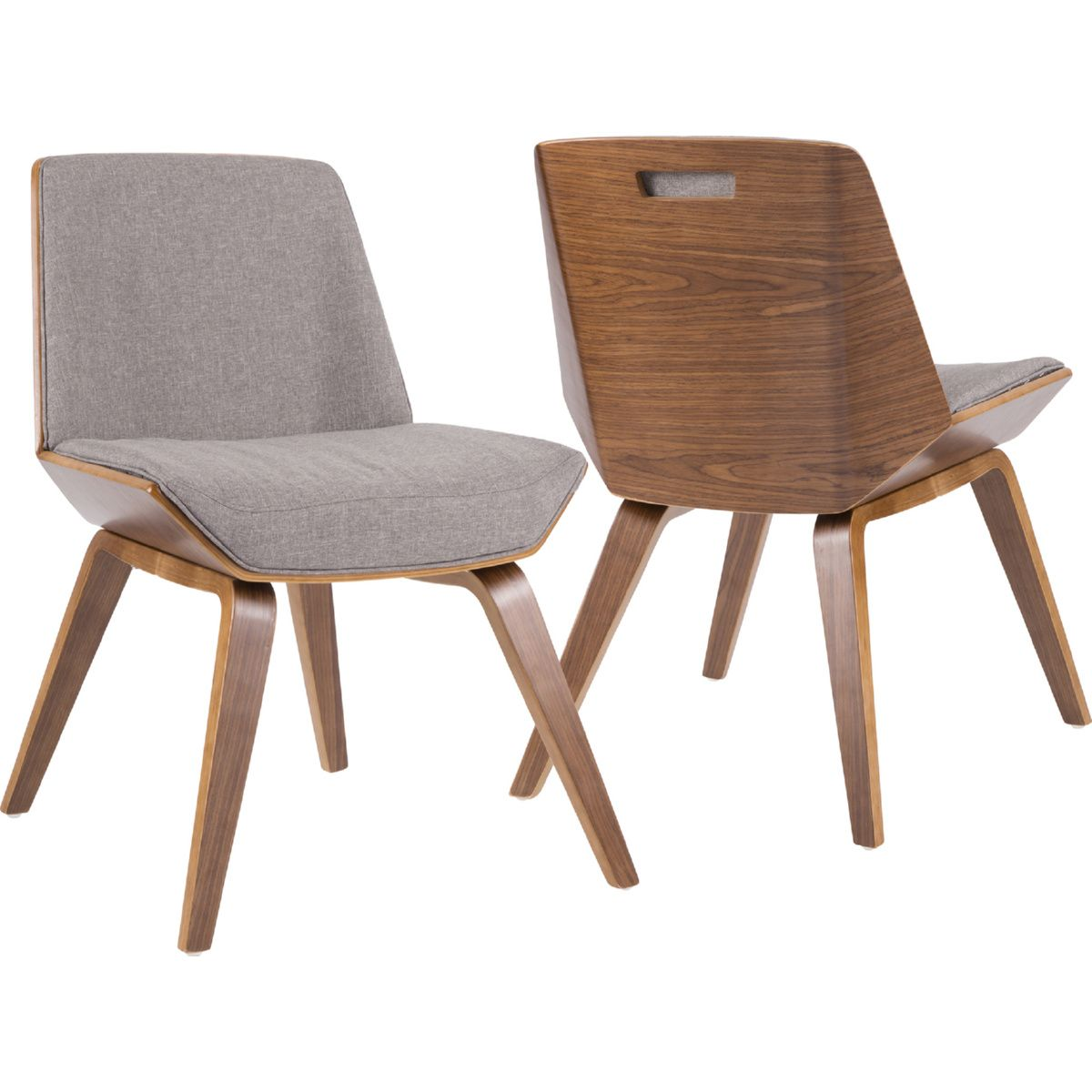 Phenomenal Corazza Dining Accent Chair In Grey Fabric On Walnut Legs By Ncnpc Chair Design For Home Ncnpcorg