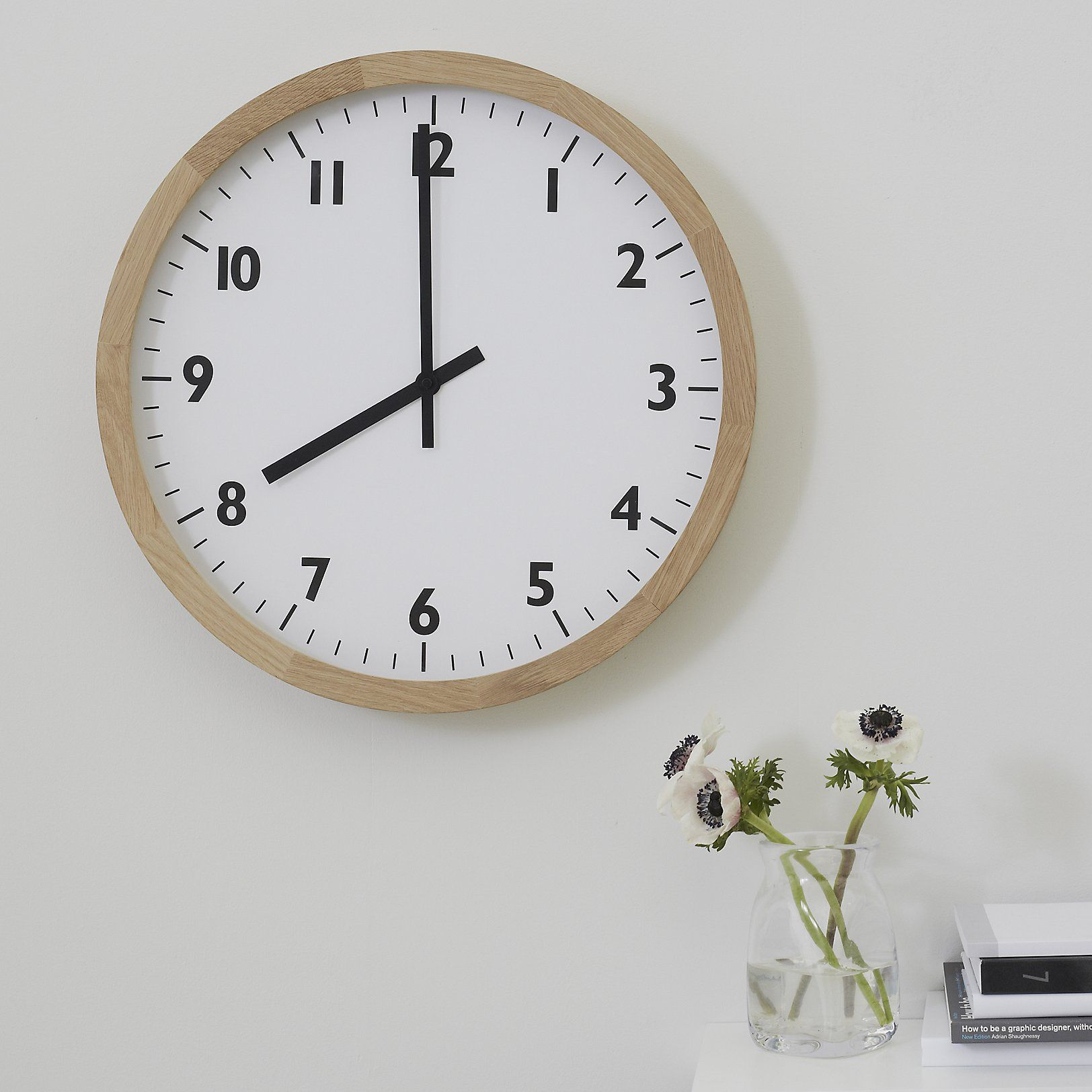 Oak Wall Clock Large The White Company Uk