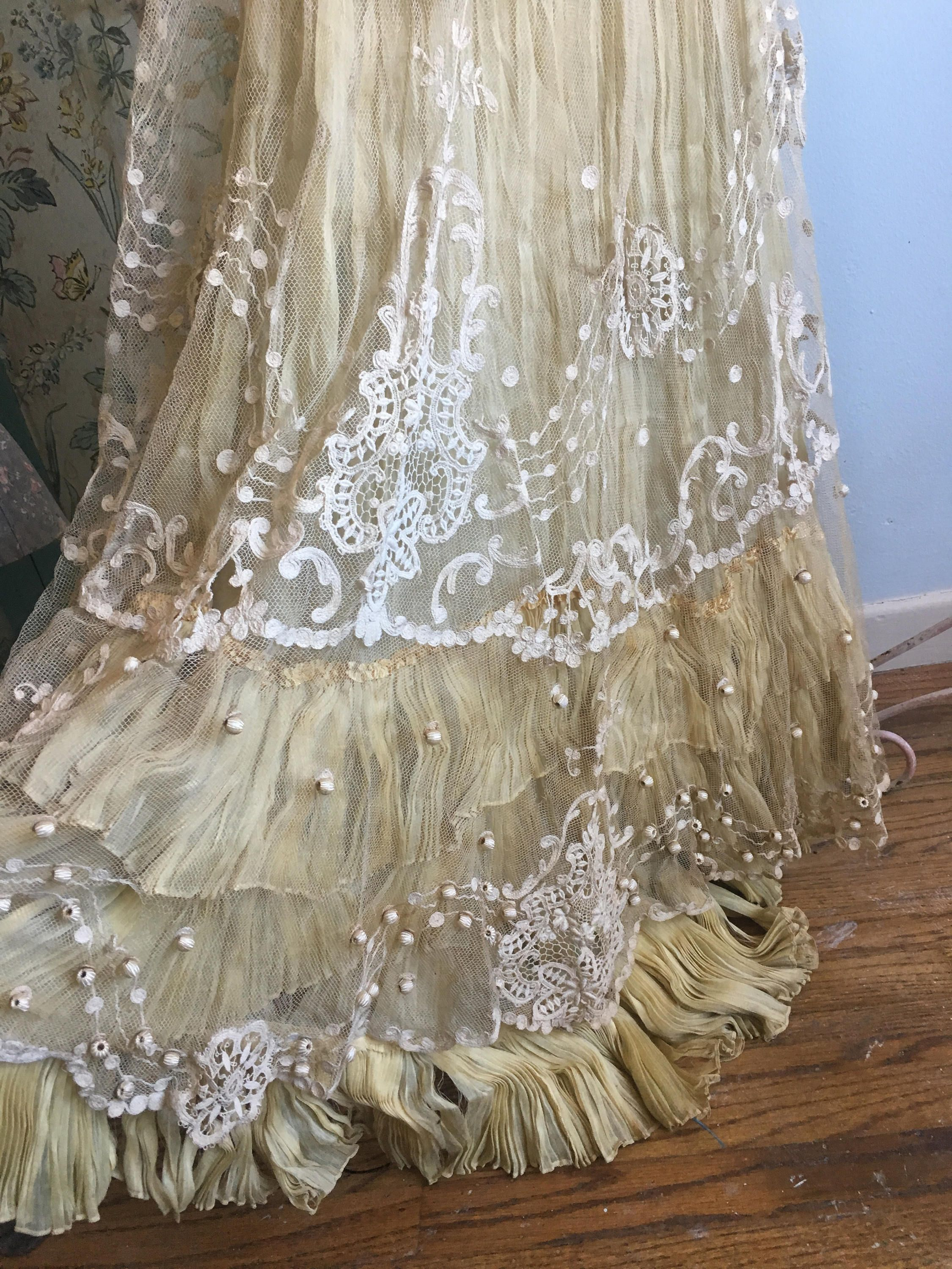 Wow french antique edwardian womanus embroidered tambour lace dress