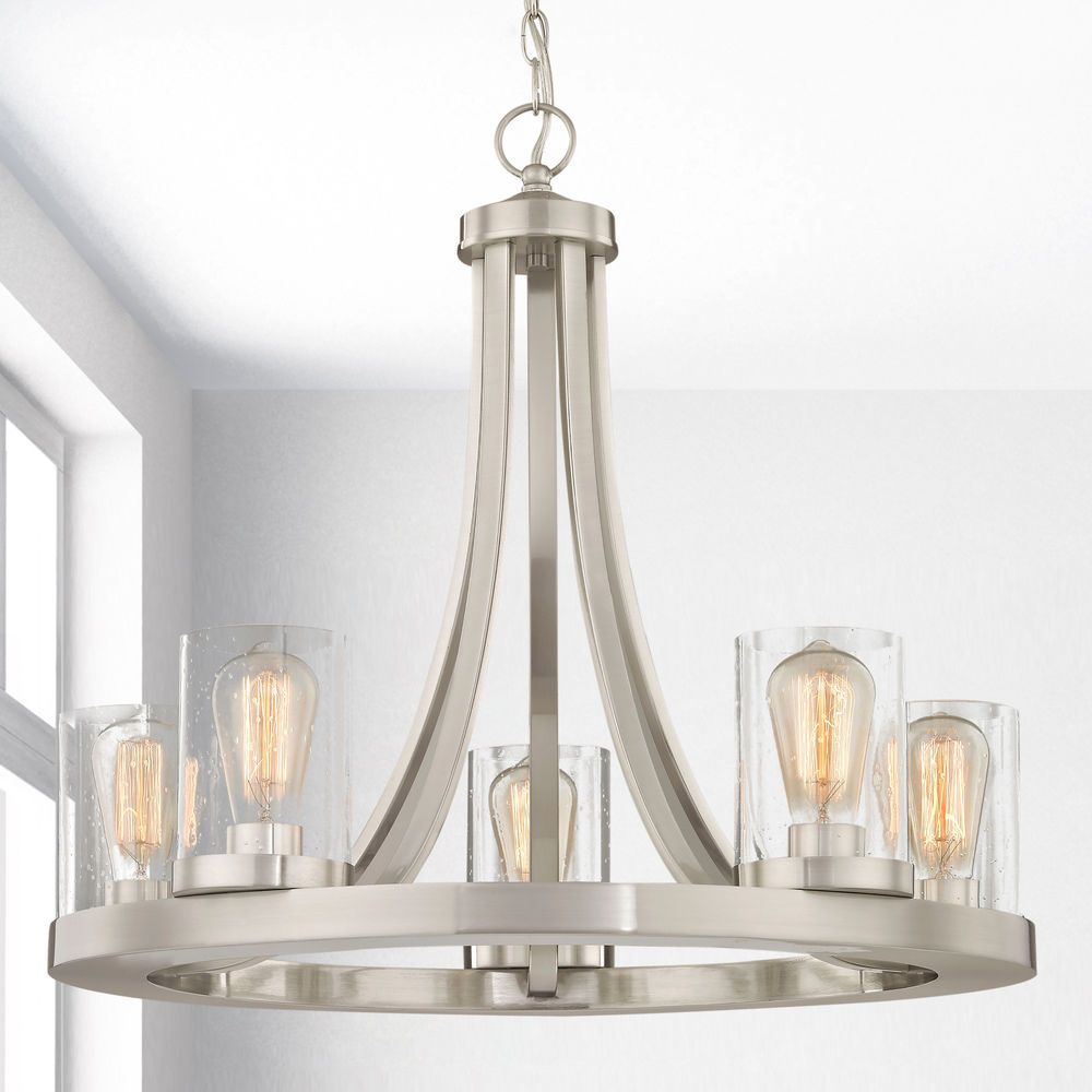 Industrial Seeded Glass Chandelier Satin Nickel 5 Lt 162 09 Gl1041c Destination Lighting In 2020 Glass Chandelier Chandelier Seeded Glass