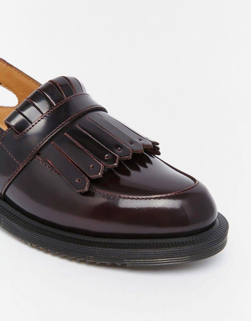 948fe914d94 Image 4 of Dr Martens Valentine Cherry Red Slingback Tassel Loafer Flat  Shoes