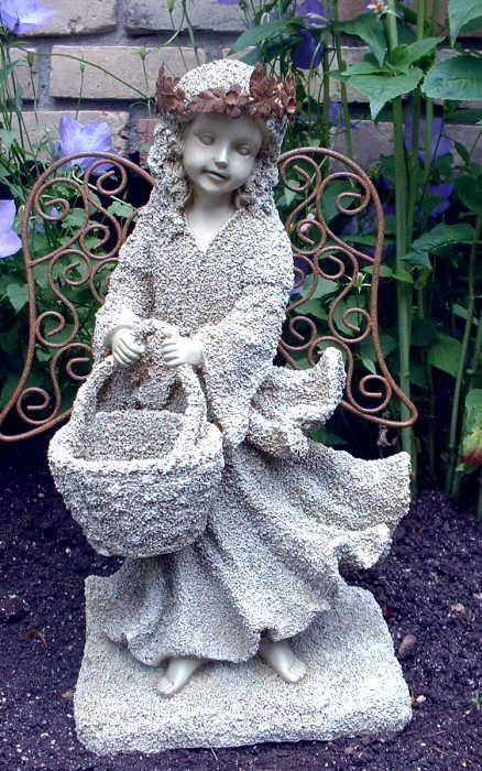 Sandstone Garden Angel Metal Wings Holding Basket Fairy Yard Decor