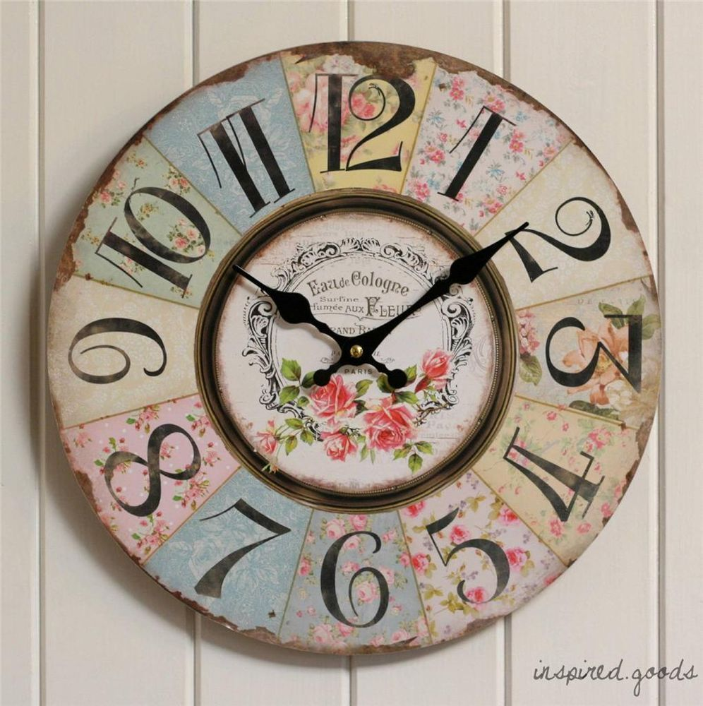 Large French Vintage Fl Kitchen Wall Clock Wooden Shabby Chic Style Pink