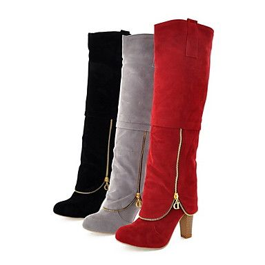Shoes For Women Fashion Chunky Heel Knee High Boots More Colors