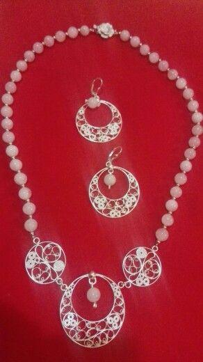 Ogrlica i nausnice,srebrni filigran i rozenkvarc... handmade