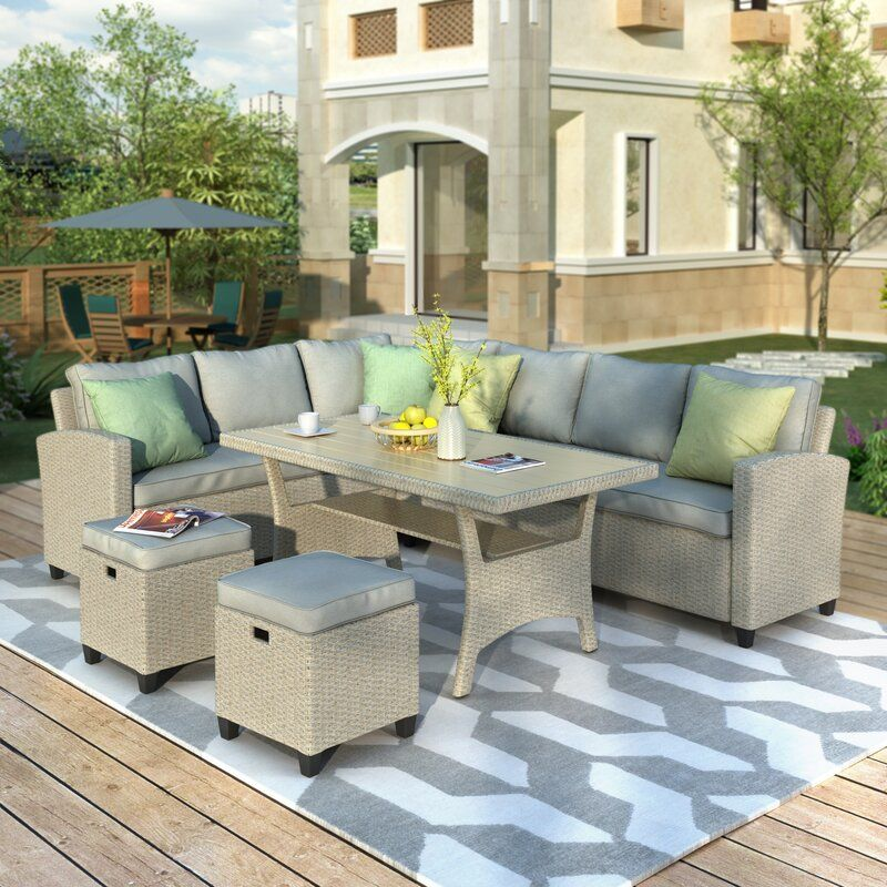 Jaqueline 5 Piece Rattan Sectional Seating Group With Cushions