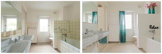 Een badkamer met oude tegels en donkere voegen maar voor de rest nog ...