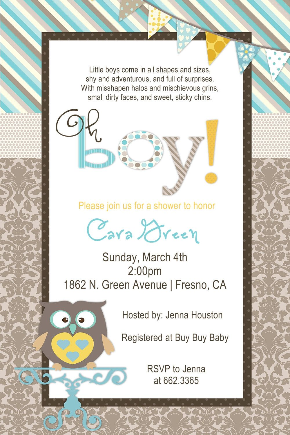 Baby Boy Owl Baby Shower Invitation | Owl shower, Shower invitations ...