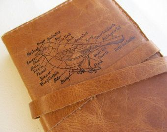 Leather journal or sketchbook featuring diagrammed bird with free personalization
