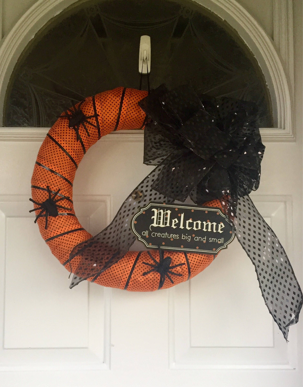 Halloween Wreath Holiday halloween Welcome all Creatures Spiders - halloween front door decor