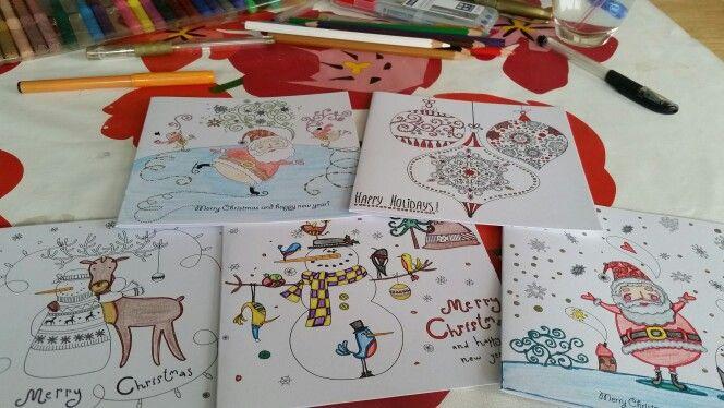 Je Eigen Kerstkaarten Inkleuren Kerst Kaarten Office Supplies