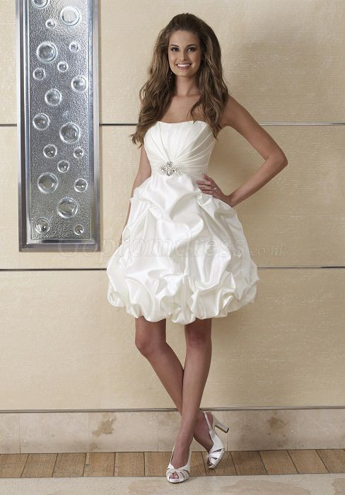 Short Modern A Line Pleated Applique Taffeta Wedding Dress