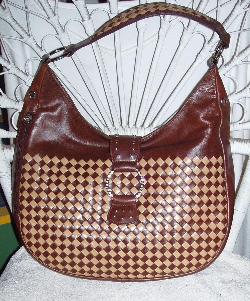 Sharif Studio Large Brown Woven Leather Rhinestone Clasp