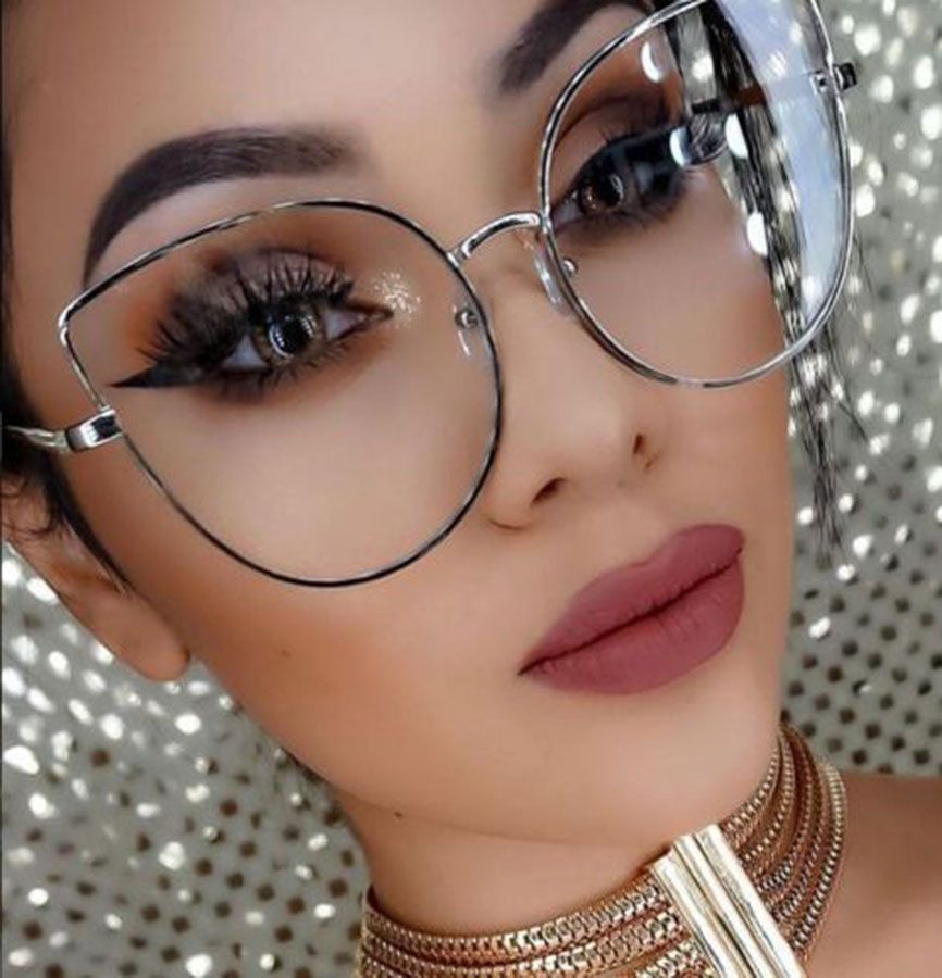 1145df0211 Details about Cat Eye Large Oversized Clear Lens Gold