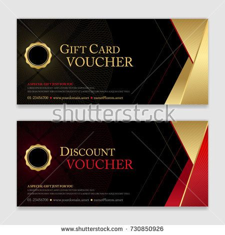 Gift Voucher Certificate Or Discount Card Template For Promo Compliment In 2021 Discount Card Card Template Gift Vouchers