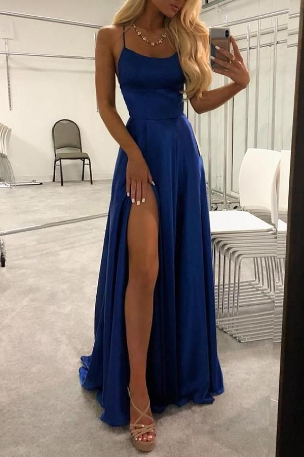 Blue Satin Scoop Long Prom Dresses High Slit Sleeveless Criss Cross Evening Dres…
