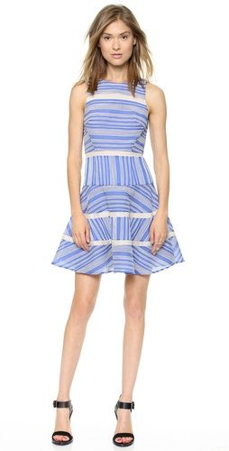 Tibi Sleeveless Cotton Stripe Dress | SHOPBOP. Organza structures the raffia-ribbon stripes on this Tibi dress, lending unique texture to the swingy silhouette. Sheer gauze insets.