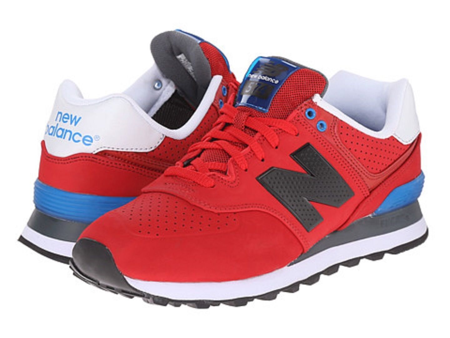 factory price accae d3894 awesome NEW BALANCE ML574ACC ML574 Mn s (M) Red Blue Suede Mesh Athletic