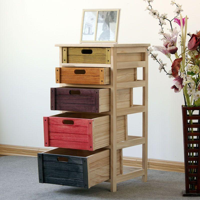Muebles-de-madera-maciza-pecho-colorido-de-cajones-aparador-niños ...