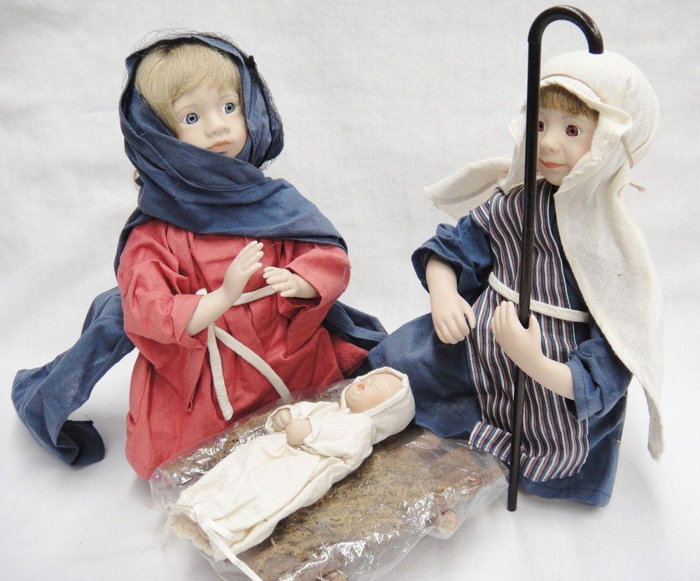 Thomas kinkade o holy night christmas stocking - Ashton Drake Holy Family Porcelain Dolls Oh Holy Night Mary Joseph Jesus Manger