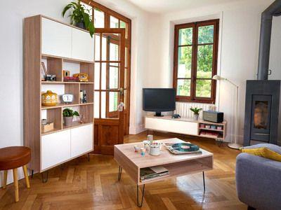 Meuble TV bas en bois avec 1 abattant, 2 niches et pieds métal L165