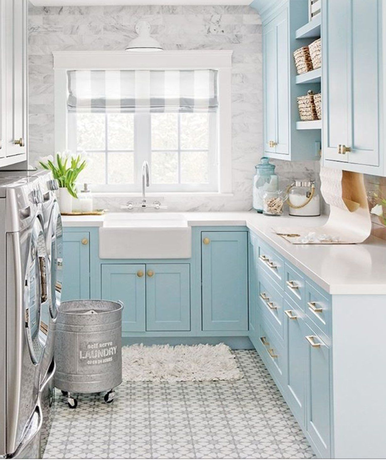 Robin Egg Blue And White Laundry Room You Can Feel Pretty While Doing The Laundry Blue Laundry Rooms Laundry Room Decor Room Makeover